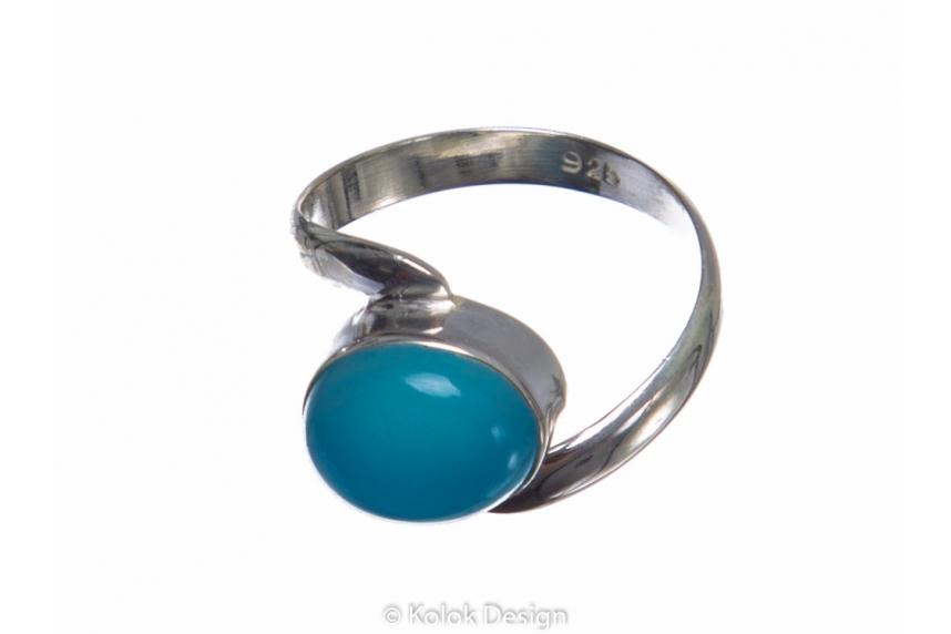 kolok.ro-Inel argint cu o piatră semiprețioasă de calcedonie ovală-KONFI74-00