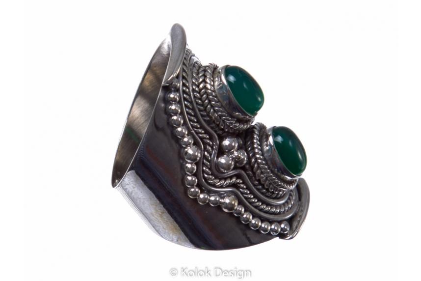 kolok.ro-Inel argint model vintage cu două pietre de onix verde 6-KDP124-00