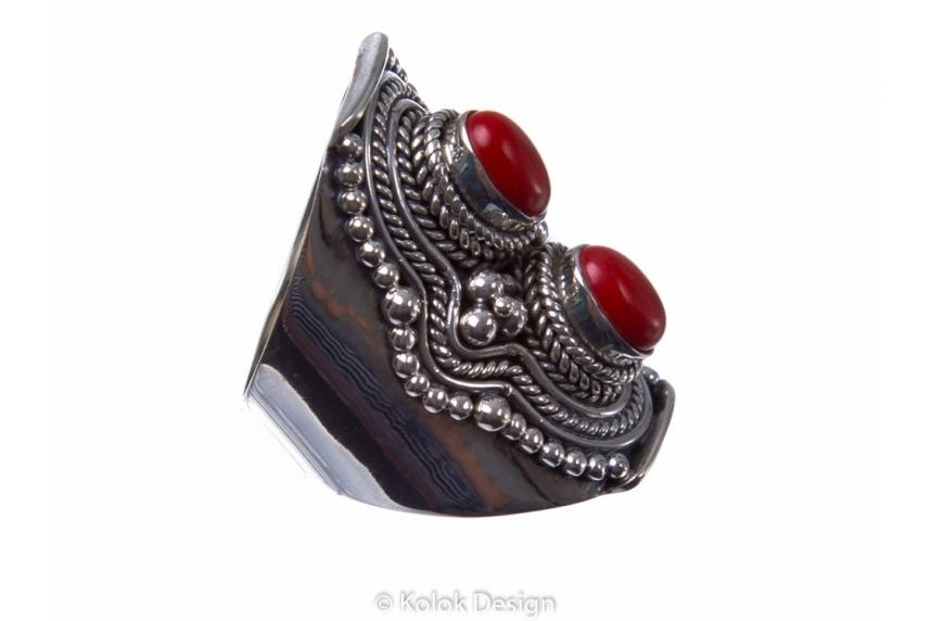 kolok.ro-Inel argint model vintage cu două pietre de coral-KONFI68-00