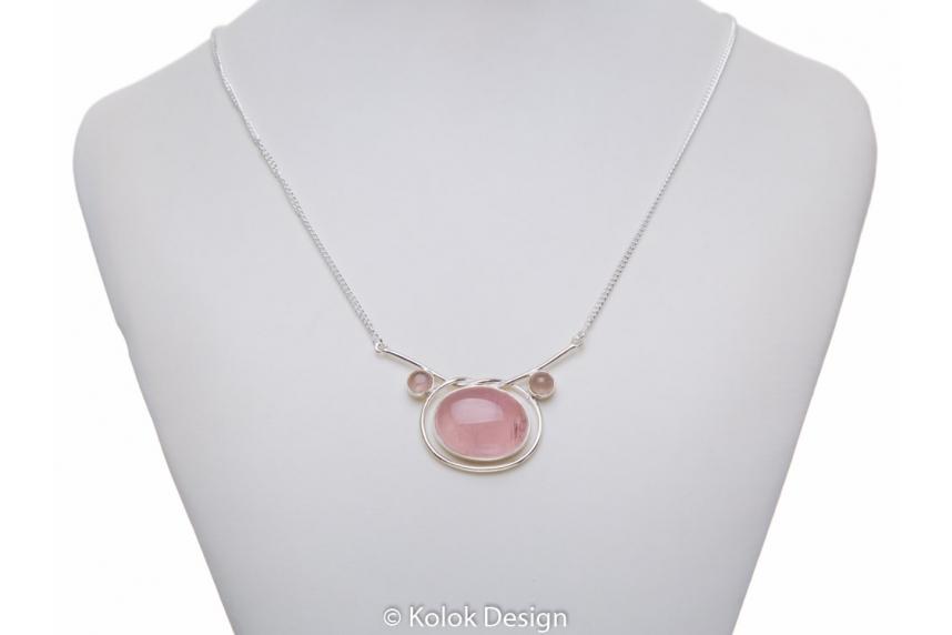 kolok.ro-Colier argint 925 cu pandant oval cuarț roz-KDP55-00