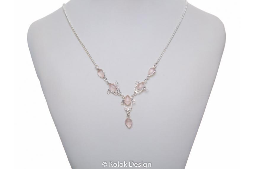 kolok.ro-Colier argint 925 model lalea cu pietre de cuarț roz-KDP73-00