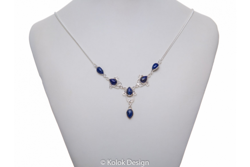 kolok.ro-Colier argint 925 model lalea cu pietre de lapis lazuli-KDP72-00