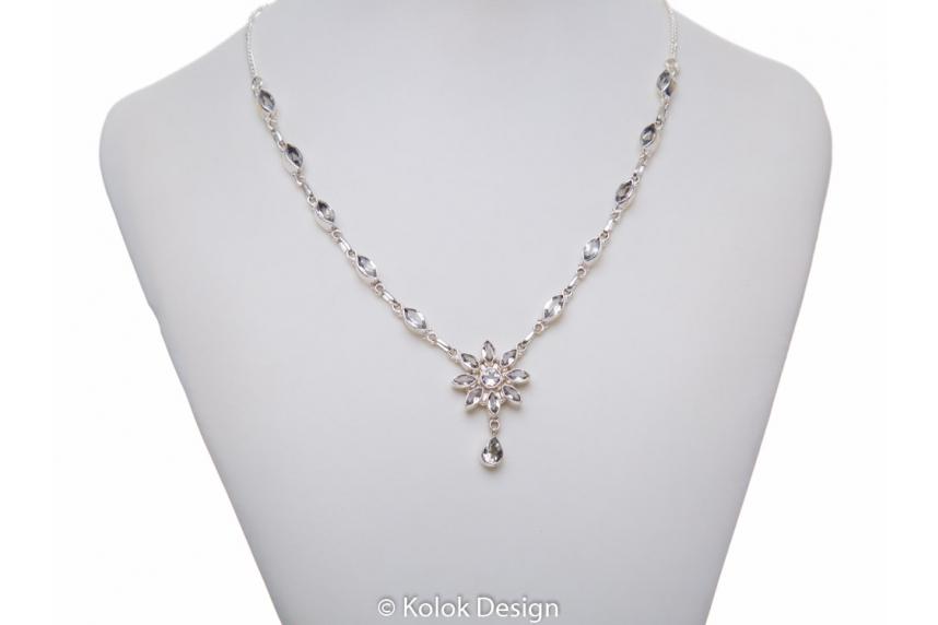kolok.ro-Colier argint 925 cu pandantiv floare cu topaz incolor-KDP62-00