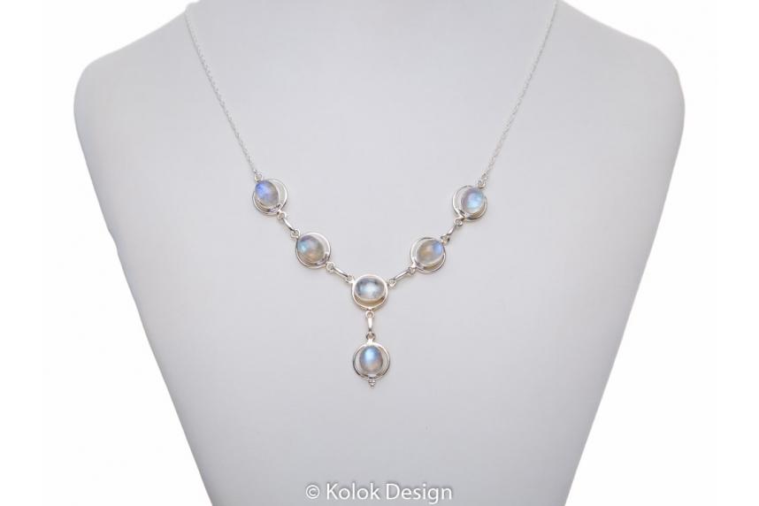 kolok.ro-Colier vintage din argint cu pietre ovale de piatra lunii alb-KDP49-00