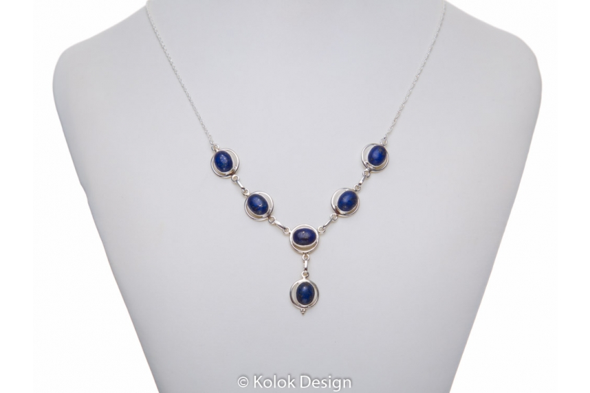 kolok.ro-Colier vintage din argint cu pietre ovale de lapis lazuli-KDP47-00
