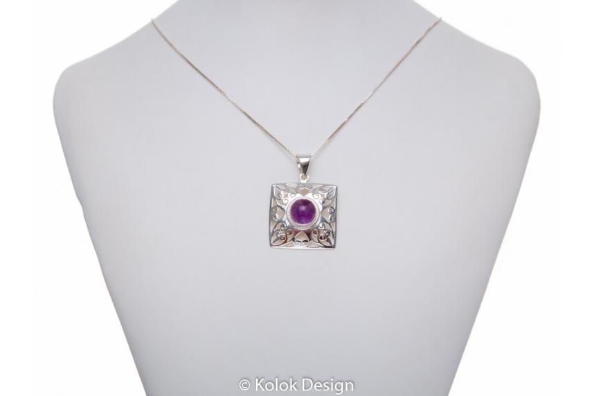 kolok.ro-Pandant pătrat din argint cu o piatră rotundă de ametist-KDP178-00
