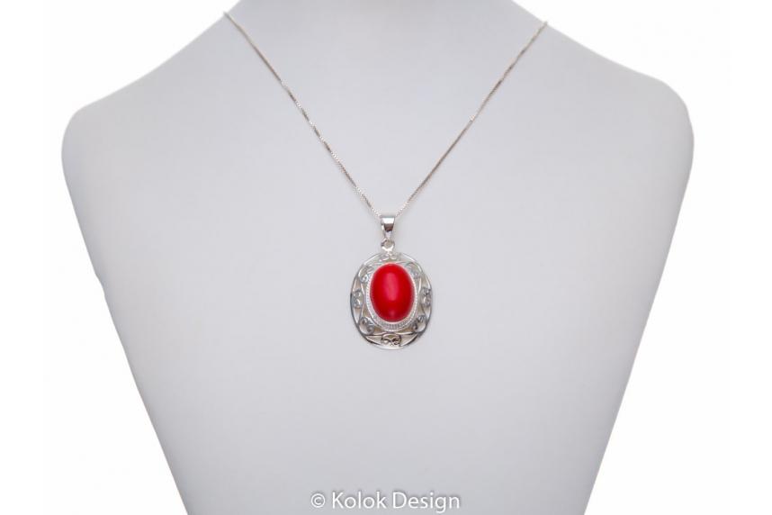 kolok.ro-Pandant argint 925 oriental cu o piatră ovală de coral-KDP170-00