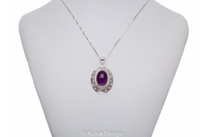 kolok.ro-Pandant argint 925 oriental cu o piatră ovală de ametist-KDP171-00