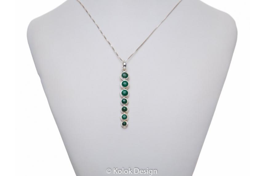 kolok.ro-Pandant lung din argint cu pietre semiprețioase de malachit-KDP182-00