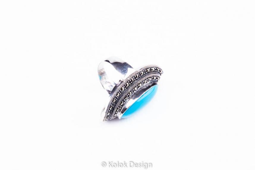 kolok.ro-Inel argint masiv cu o piatră ovală de turcoaz albastru 7-KDI545-00