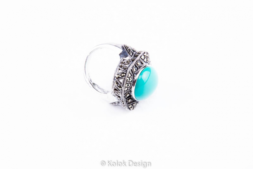 kolok.ro-Inel în formă de romb cu o piatră de turcoaz și marcasite-7-KDI546-00