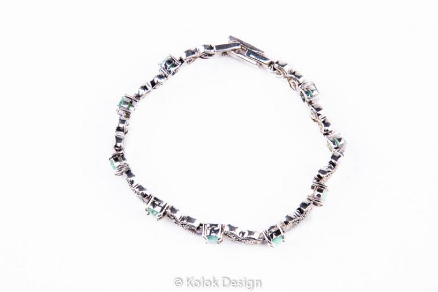 kolok.ro-Brățară din argint 925 cu pietre de smarald și marcasite-KDI490-00