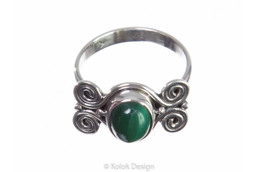 kolok.ro-Inel din argint cu malachit model în formă de spirale 7-KDP119-00