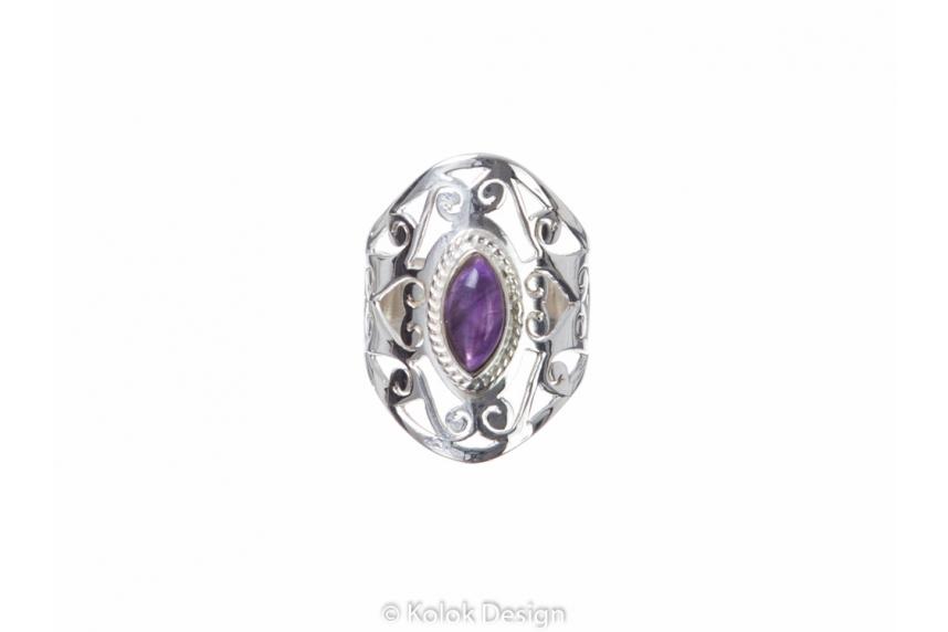 kolok.ro-Inel oriental argint cu o piatră semiprețioasă de ametist-KONFI81-00