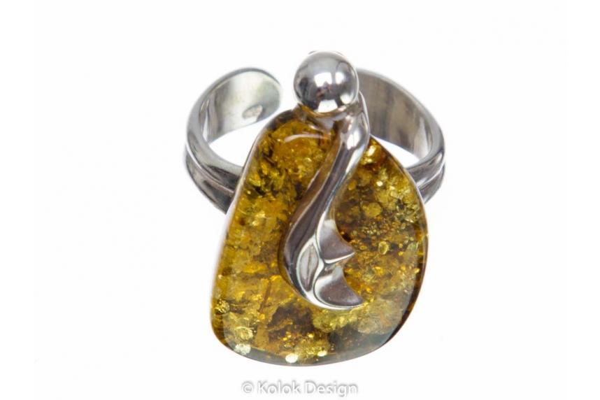 kolok.ro-Inel argint unicat cu o piatră de chihlimbar baltic verde-KDUK104-00