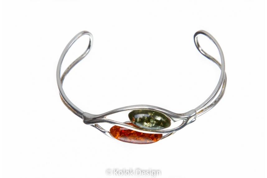 kolok.ro-Brățară argint ajustabilă cu piatră de chihlimbar coniac si verde-KDUK04-00