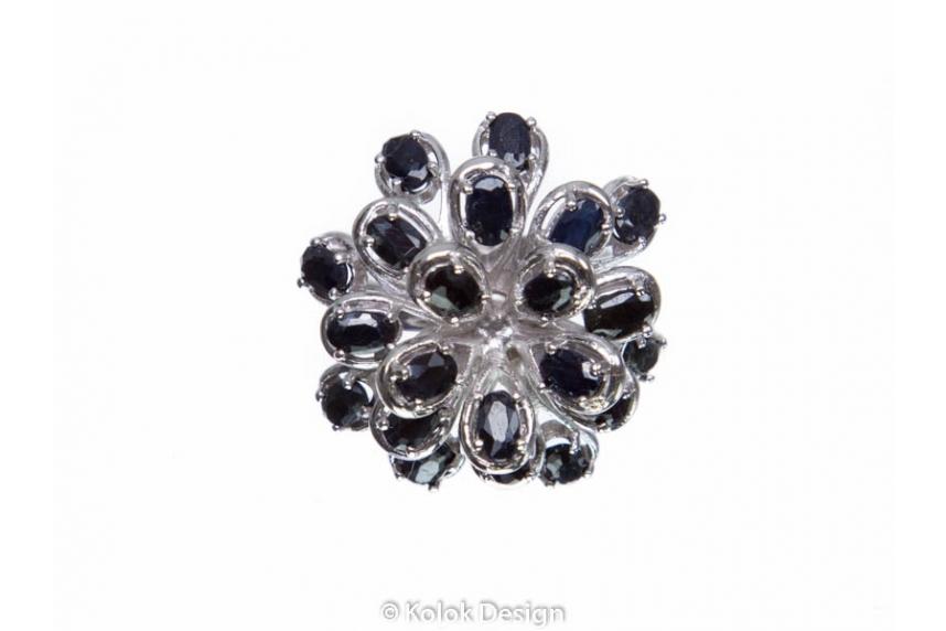 kolok.ro-Inel floare din argint 925 cu safir negru 7-KDI518-00
