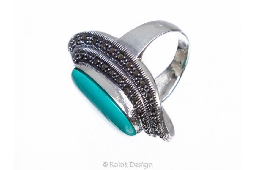 kolok.ro-Inel argint masiv cu o piatră ovală de turcoaz verde 7-KDI544-00