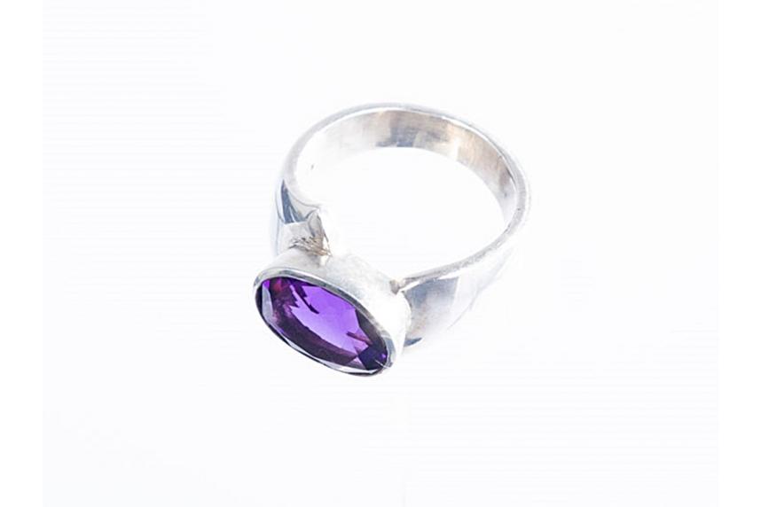 kolok.ro-Inel argint cu o piatra ovală de ametist, mărime 7-KDI316-00
