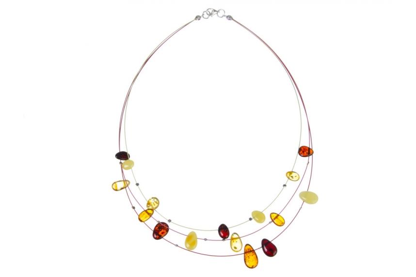kolok.ro-Colier cu trei șiruri colorate cu mărgele din chihlimbar-KDX005-00