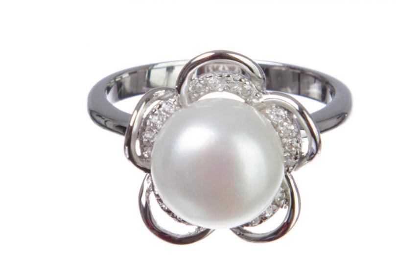 kolok.ro-Inel floare din argint cu perla de cultură și zirconia,6-KDI557-00