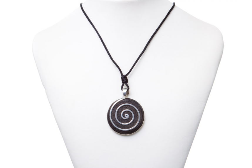 kolok.ro-Pandant argint 925 cu o piatră semiprețioasă rotundă de lavă-KDI581-00