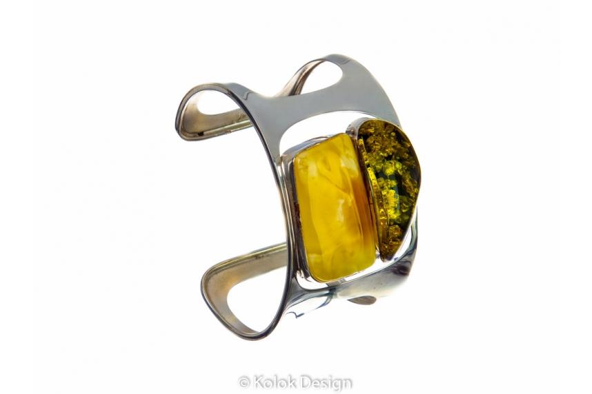 kolok.ro-Brățară lux din argint cu pietre de chihlimbar autentic-KDE038-00